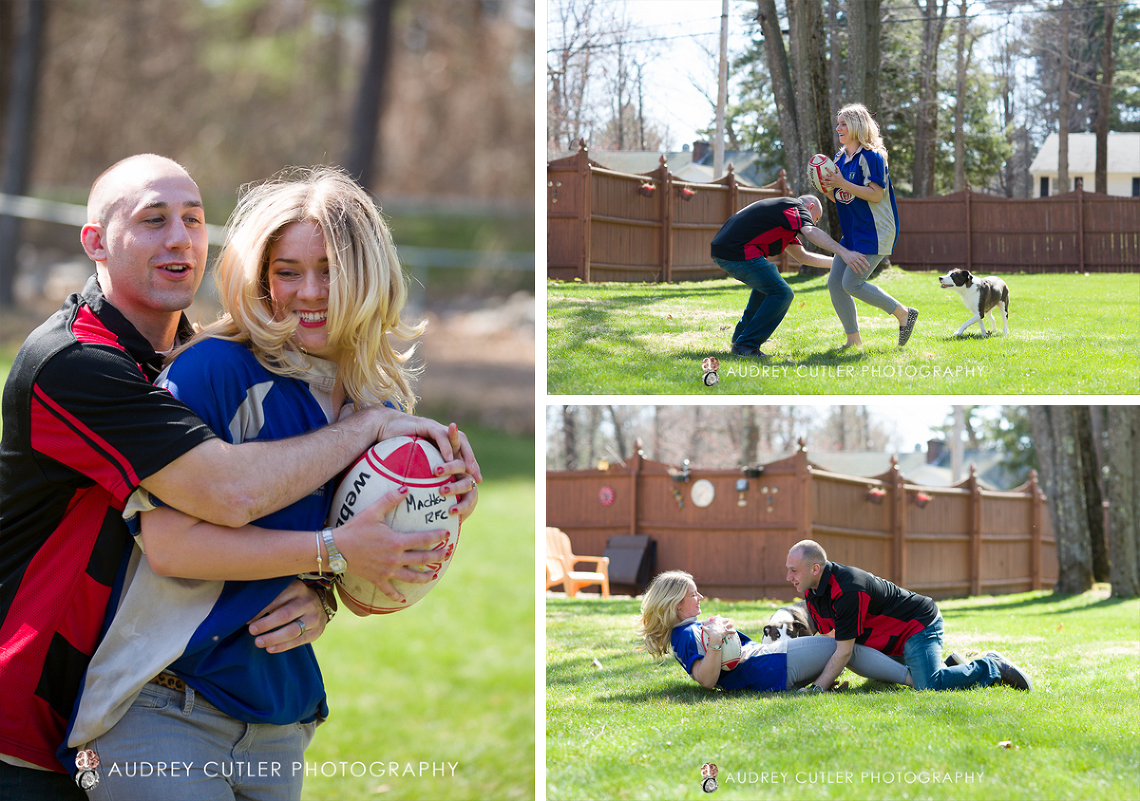 Rugby and Puppies - Spring Engagement- Central Massachusetts Wedding Photographers © Audrey Cutler Photography